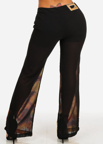 Printed Chiffon Wide Leg Pants