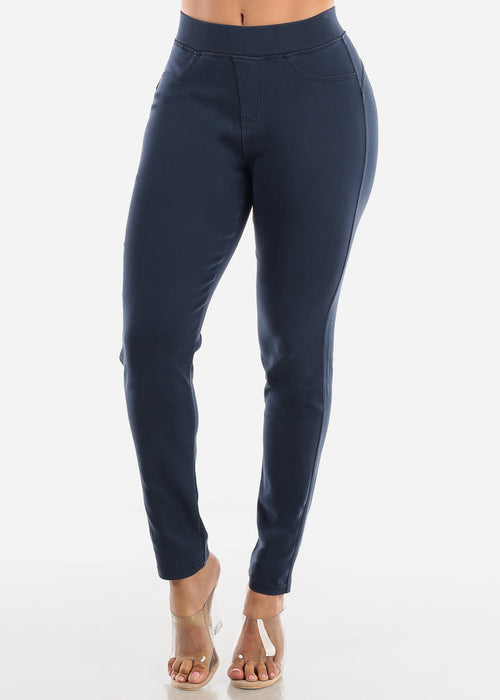 Pull On Butt Lifting Navy Jegging Skinny Pants