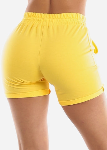 Yellow Drawstring Biker Shorts