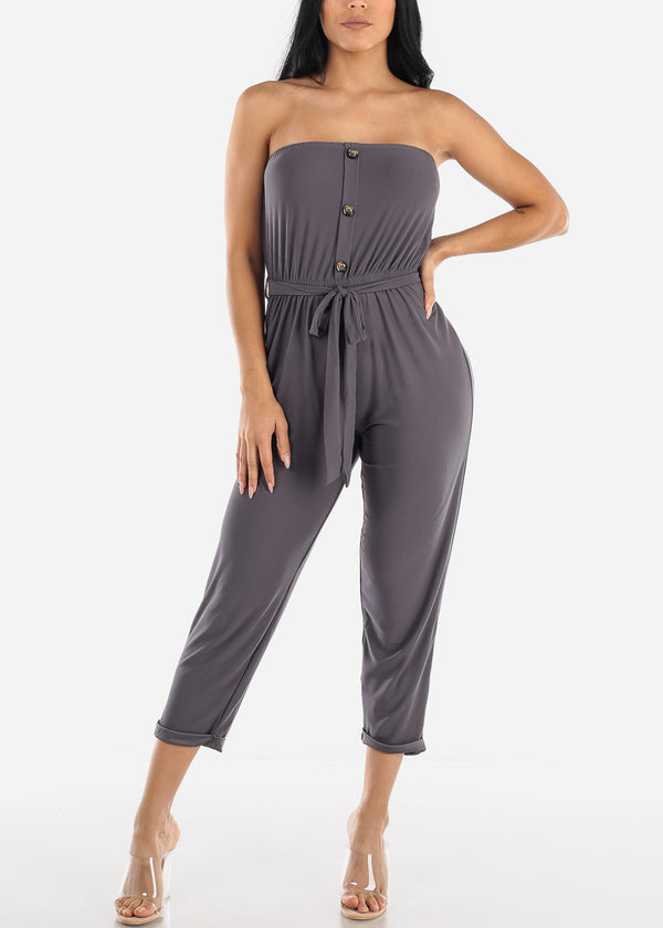 Buttons Front Strapless Charcoal Jumpsuit