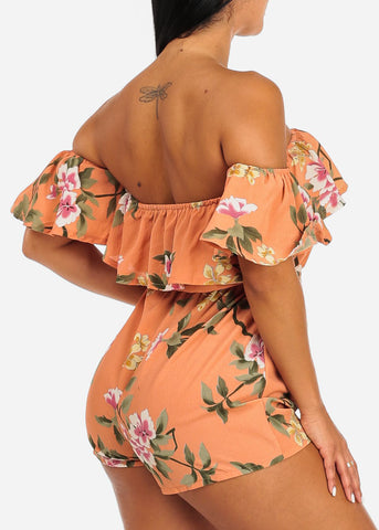 Image of Ruffled Peach Floral Print Romper