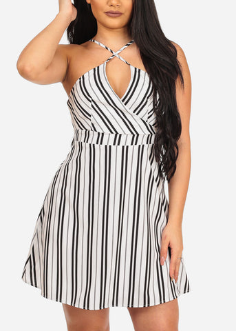 Image of Women's Sexy Going Out White Stripe Fit And Flare Summer Spring Dress