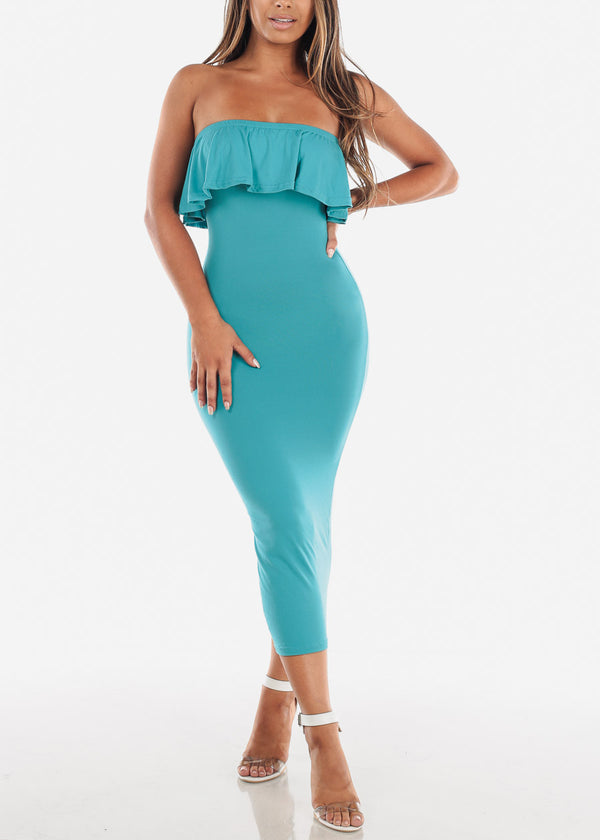 Strapless Teal Bodycon Midi Dress