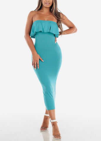 Image of Strapless Teal Bodycon Midi Dress