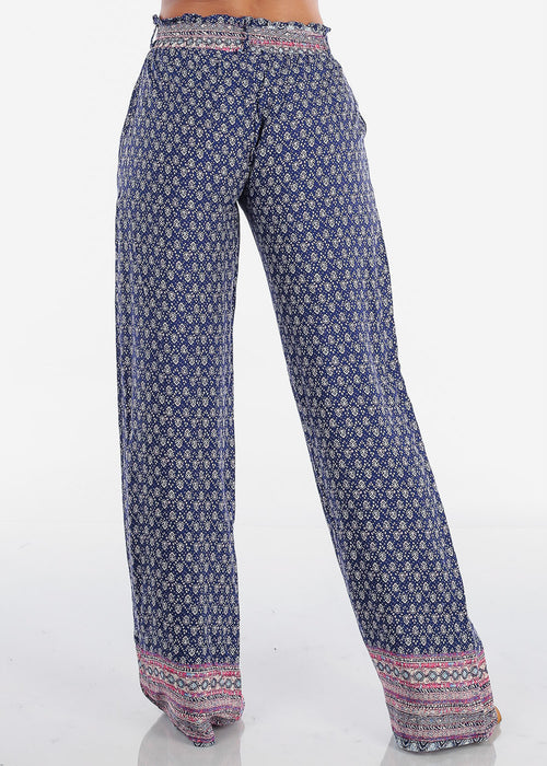 High Rise Purple Printed Pants