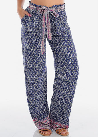 Image of High Rise Purple Printed Pants