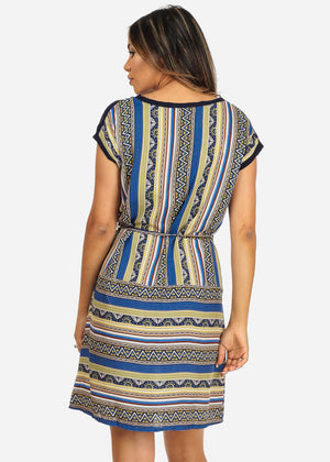 Blue Aztec Mini Dress