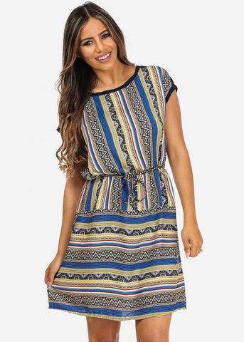 Image of Blue Aztec Mini Dress