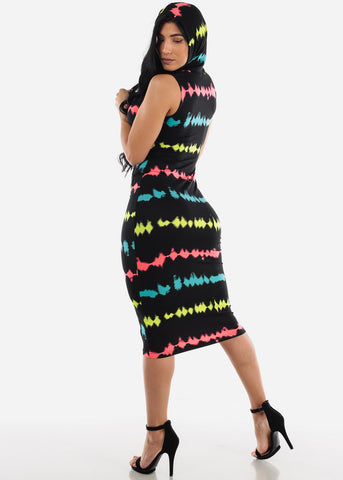 Image of Black Multicolor Bodycon Midi Dress