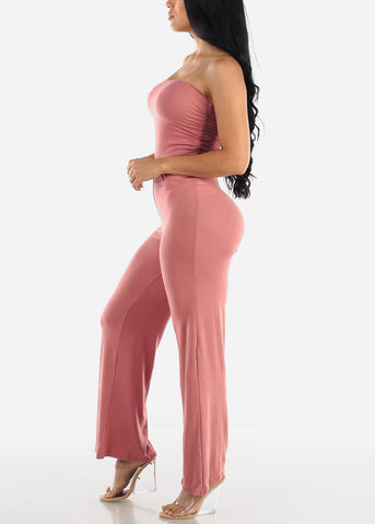 Image of Wide Legged Strapless Mauve Jumpsuit