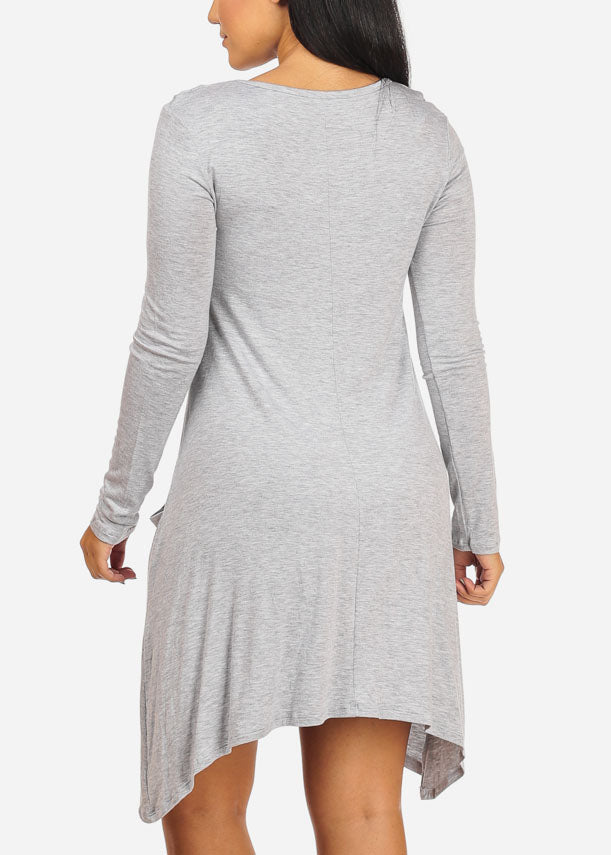 Casual Asymmetrical Light Grey Dress