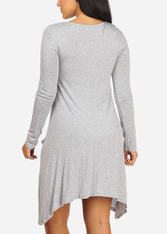 Image of Casual Asymmetrical Light Grey Dress