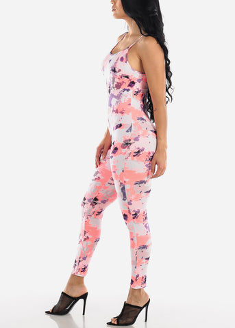 Image of Pink Tie Dye Jumpsuit