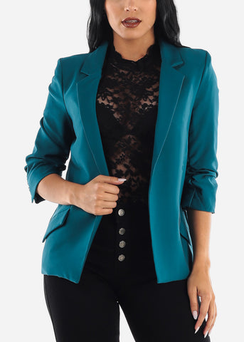 Image of Teal Open Front Blazer