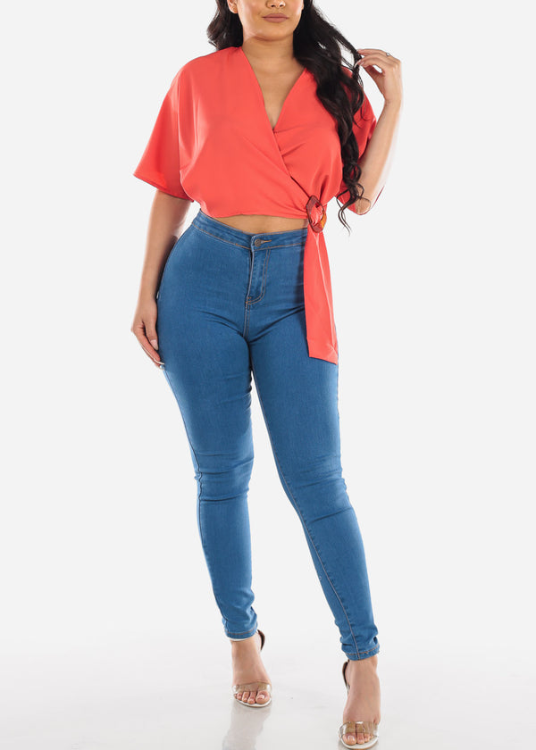 Sexy Wrap Front Orange Crop Top