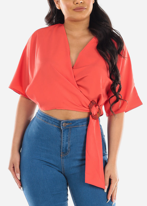 Sexy Short Sleeve Wrap Front Orange Lightweight Crop Top For Women Ladies Junior
