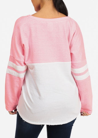 Image of Pink Long Sleeve Pullover Sweatshirt