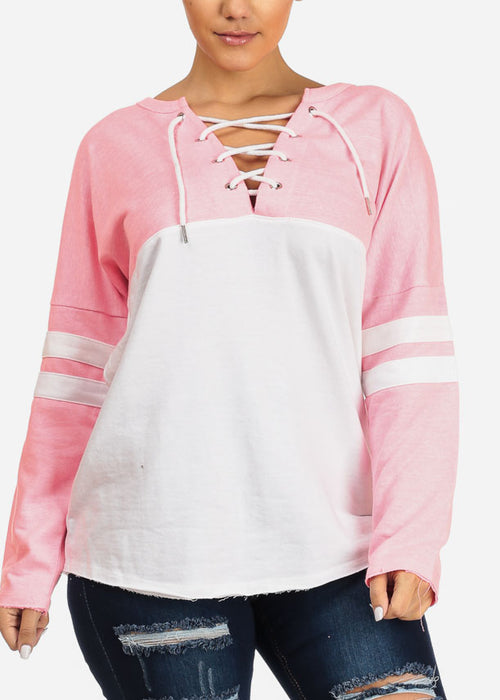Pink Long Sleeve Pullover Sweatshirt