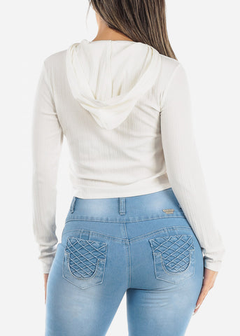 Image of White Ribbed Hoodie Top