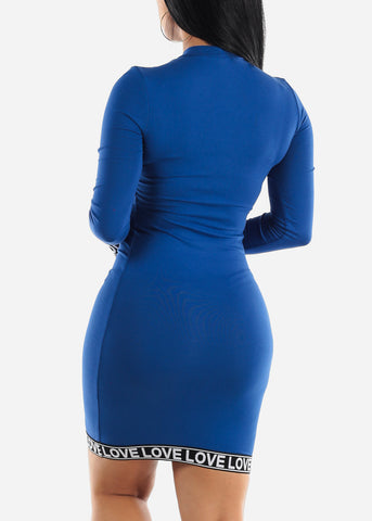 Image of High Neck Royal Blue Bodycon Mini Dress
