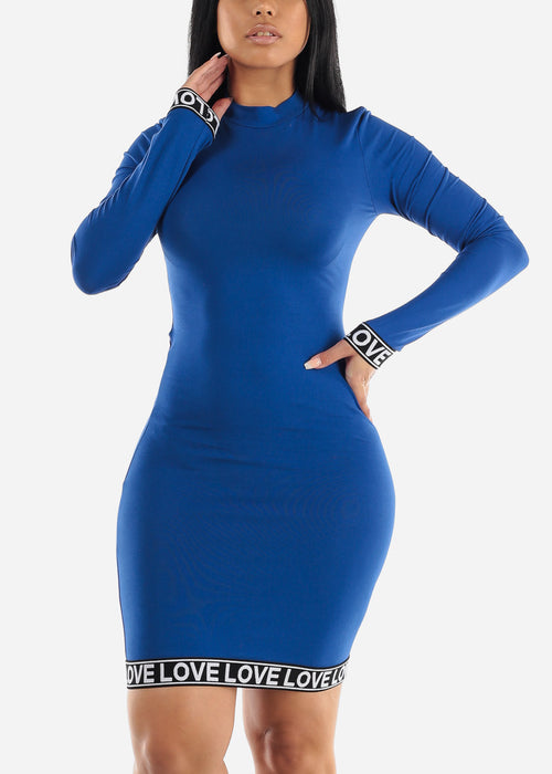 High Neck Royal Blue Bodycon Mini Dress