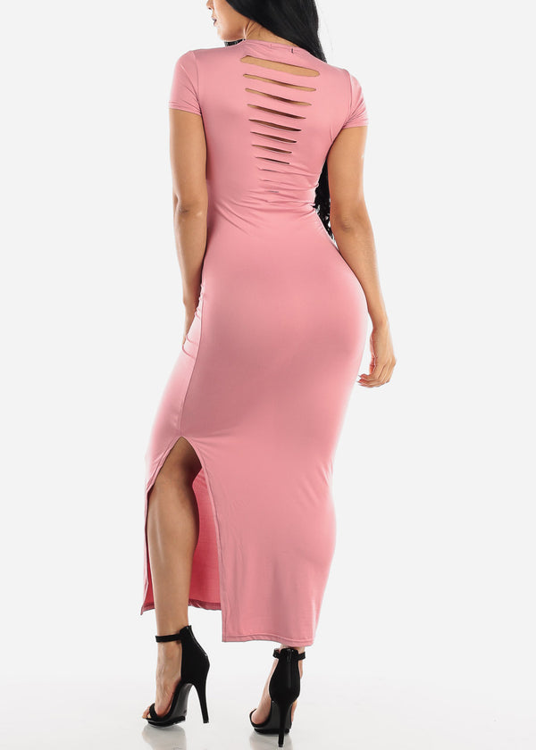 Short Sleeve Pink Bodycon Maxi Dress