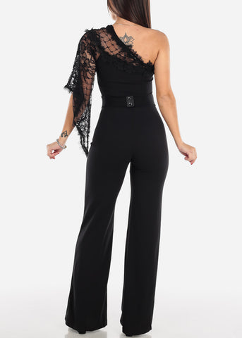 One Shoulder Lace Sleeve Jumpsuit