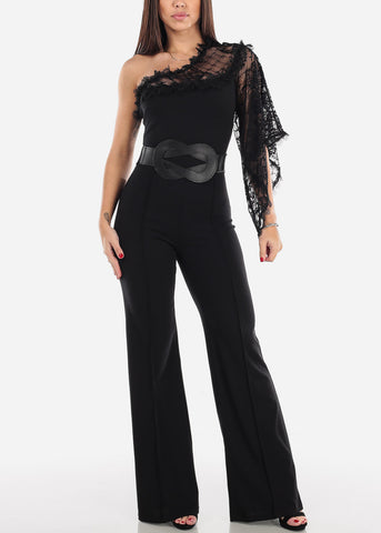 Image of One Shoulder Lace Sleeve Jumpsuit