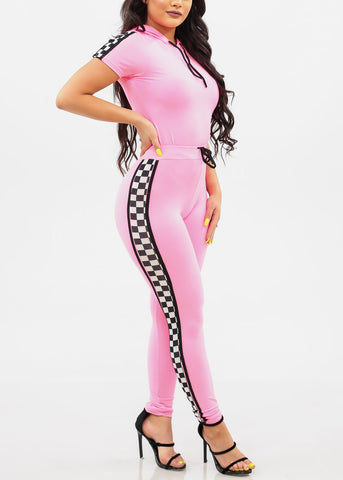 Women's Junior Ladies Cute Trendy Going Out Sporty Crop Top With Hood And High Rise Drawstring Waist Neon Pink Skinny Leg Pants With Checkered Sides Detail Sporty Racetrack Two Piece Set