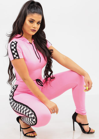 Image of Women's Junior Ladies Cute Trendy Going Out Sporty Crop Top With Hood And High Rise Drawstring Waist Neon Pink Skinny Leg Pants With Checkered Sides Detail Sporty Racetrack Two Piece Set
