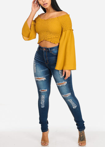 Image of Mustard Crossover Shirr Crop Top