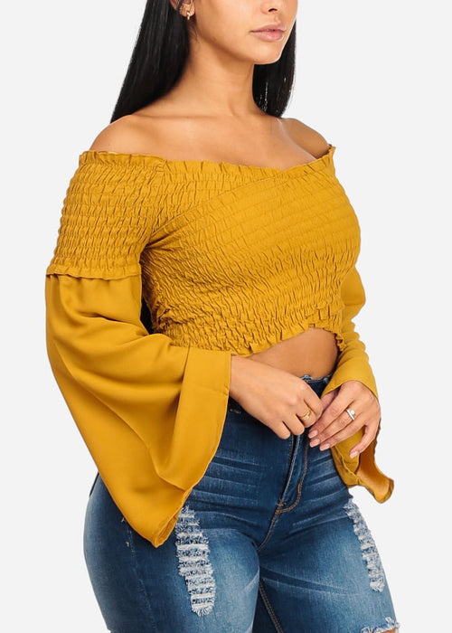 Mustard Crossover Shirr Crop Top
