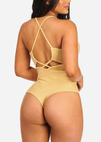 Women's Junior Casual Going Out Cute Sexy Spaghetti Strap Back Crisscross Design Yellow Ribbed Bodysuit