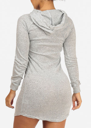 Grey Love Dress W Hood