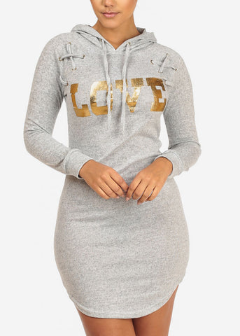 Image of Grey Love Dress W Hood