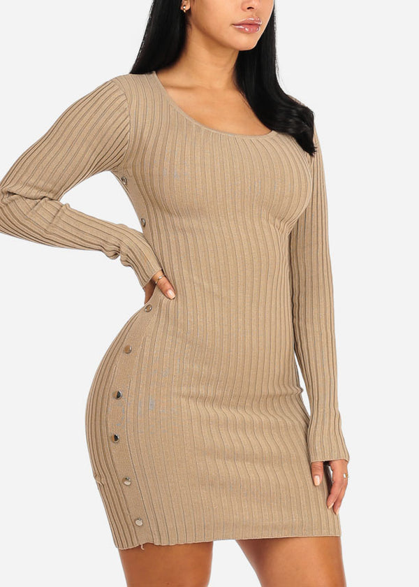 Khaki Silver Button Knitted Dress