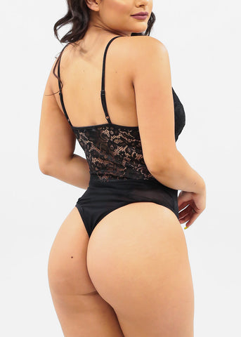 Image of Sexy Black Floral Lace Bodysuit