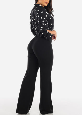 Fancy Elegant Quarter Sleeve Black And White Polka Dot Jumper Jumpsuit