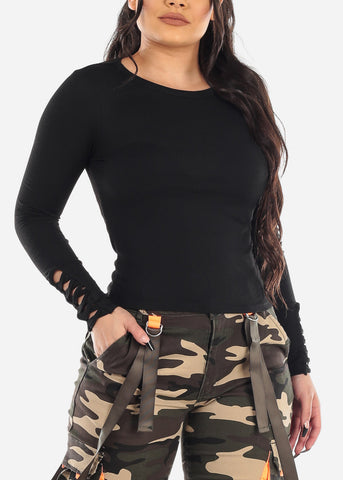Image of Strappy Detail Black Ribbed Top