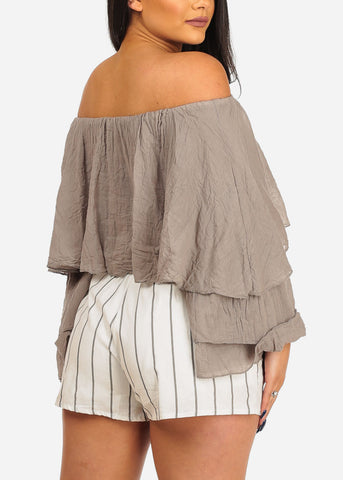 Image of Off Shoulder Mocha Crop Top