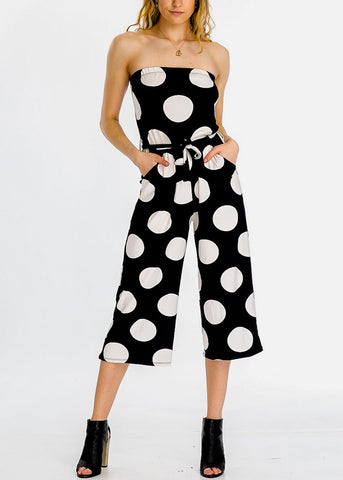 Image of Strapless Polka Dot Black Cropped Jumpsuit