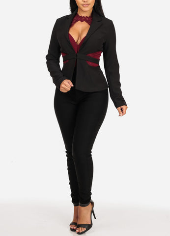 L'ATISTE Sexy Long Sleeve Cut Out Design Black Blazer