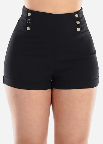 High Waisted Black Stretchy Short Shorts For Women Ladies Junior Party Night Out Clubwear