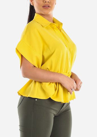 Image of Lightweight Button Up Yellow Top