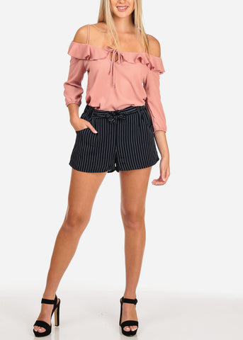 Image of High Rise Navy Stripe Shorts