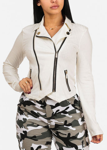 Trendy Zip Up Long Sleeve Moto Design White Ribbed Top