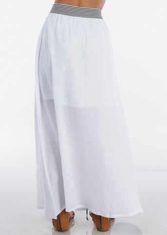 Image of Stylish White Lightweight Maxi Skirt