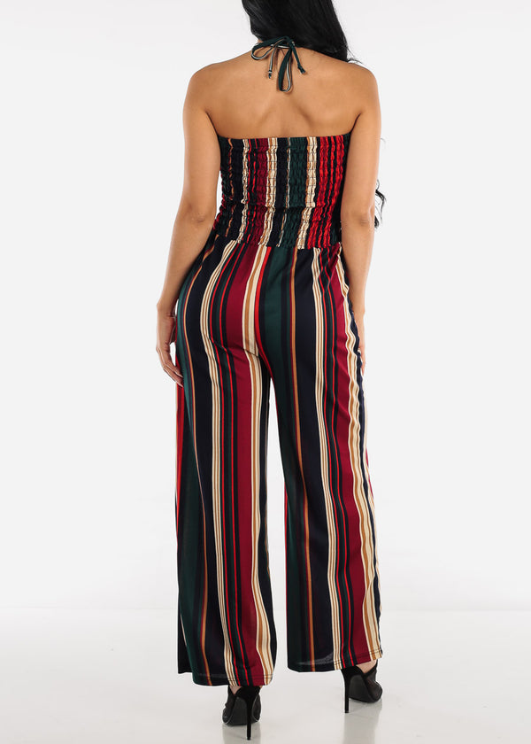Strapless Multicolor Stripe Jumpsuit