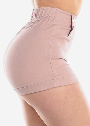 High Waisted Mauve Stretchy Short Shorts For Women Ladies Junior Party Night Out Clubwear