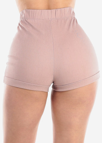 Sexy High Rise Mauve Shorts